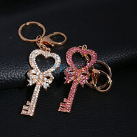 Pretty Heart Key Keychain Rhinestone Key Ring Purse Charm Pendant Gift