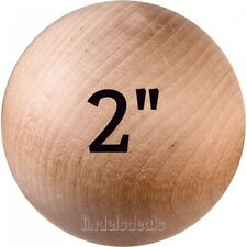 2 INCH Wood Balls Unfinished Solid Hardwood Stain Grade Balls / 5 Ball Lot