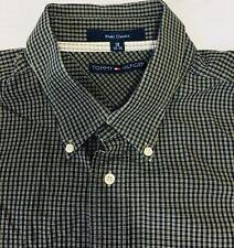 TOMMY HILFIGER Mens Button Down Shirt 18 34-35 Checks Black & Gray Classic #65