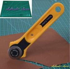Yellow Circular Cut Blade Patchwork Fabric Leather Craft Rotary Cutter Tool W