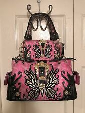 Cowgirl Trendy WESTERN BUCKLE BUTTERFLY Concealed Carry Handbag w/Wallet - PINK