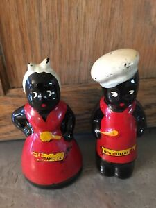 Vintage Black White Red Americana Collectible Salt Pepper Set