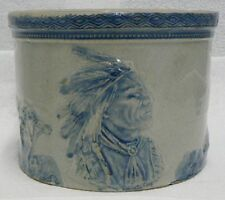 VINTAGE WEIR POTTERY STONEWARE SLEEPY EYE BUTTER CROCK