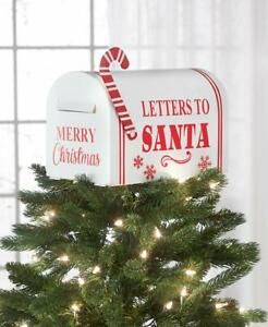 """""""Letters To Santa"""" Mailbox w/ Candy Cane Accent Christmas Tree Topper"""