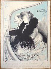 Dessin original de Solar D'ALBA daté 1902 Loge de théâtre Opéra Art Nouveau
