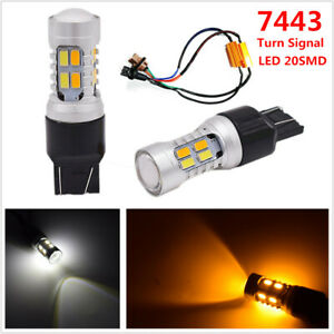2PCS 7443 20SMD LED Chip White/Amber Brake Turn Signal Side Marker Lights Bulbs