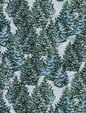 Christmas Fabric - Winter's Eve Snowy Pine Trees Dark Blue - Wilmington YARD