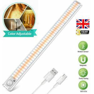 160 LED Under Cabinet Light PIR Sensor Dimmable Kitchen Cupboard Night Lamp UK