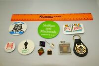 Vintage Rare LOT 11 Collectible Pin Back Buttons, Pins, Keychain PC Era 1980's