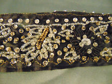 "Beautiful Black Beaded Belt hand sewn gold threading 37"" long belt 14"" ties art"