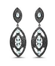 8.80 ctw Sky Blue Topaz and Spinel 925 Silver Antique Style Dangle Earrings