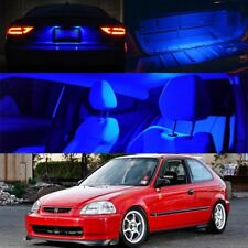 For 96-00 Honda Civic Blue LED Bulb Full Package Map Dome Trunk + License Plate