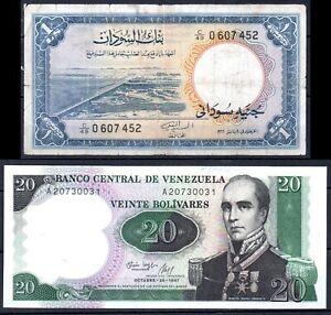 Sudan P8 1967 1pound VF, Venezuela P71 1987 20 Bolivares UNC RARE