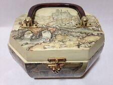 Art Decoupage Wooden Vintage Box Purse 8 Sided Lucite Bakelite Handle Village