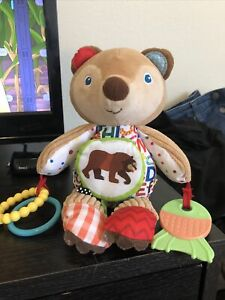 """Eric Carle Bear Activity Baby Toy 10"""" Plush Rattle Crinkle Teether Mirror Stffd"""