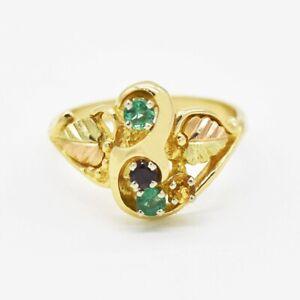 10k Tri Colored Gold Multi Colored Gemstone Leaf Design Ring Size 6