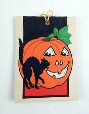Deco Vintage Halloween Tally Card Black Scaredy Cat Pumpkin die cut