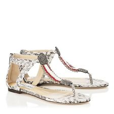 JIMMY CHOO 'Hakea' FLAT Thong Snake Crystal Sandals Size Uk 3 Eu 36 Rrp £1150!!