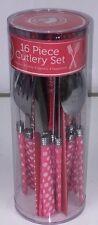Pink Vintage Style Polka Dot 16 Piece Cutlery Set