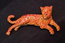 Vintage Painted Metal Leopard Big Cat Cheetah Brooch Pin