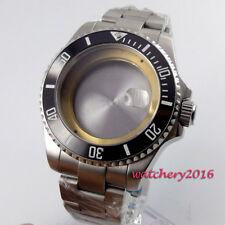 43mm Parnis Sapphire Glass ceramic bezel Watch Case fit Eta 2824 2836 Movement