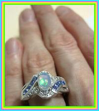 Genuine Ethiopian Welo Opal Tanzanite Topaz Ring Sterling Silver 925 sz  8