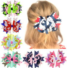 6 Pcs Girl Christmas Holiday Gift Snowflake Ribbon Hair Bows Clip Girl Hairpin