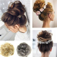 Women Curly Wave Hair Bun Clip Comb In Hair Extension Pony Tail Hairpiece Wig US