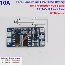 2S 10A w/Balance BMS Protection PCB Board For 18650 Li-ion Lithium Battery 8.4V