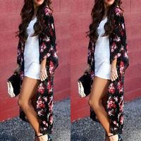 Women Chiffon Kimono Beach Cardigan Wrap Duster Beachwear Long Dress Jacket Coat