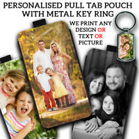 PERSONALISED PULL TAB Phone Case Cover Pouch With METAL KEYRING Gift For iPHONE