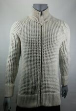 Men's OLD NAVY Full-Zip WOOL Blend Beige CABLE KNIT Pullover Sweater Size XL
