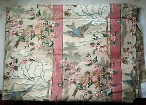 "6 yds. Vintage Sateen Drapery Fabric Birds, Pink Brown Pastels 36"" Wide"