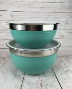Better Homes and Gardens Mixing Bowls w/ Lids Turquoise Silver