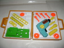 Fisher Price Tool Kit #924 1977 20 Pc Tools Working Wind Up Drill Set USA Case