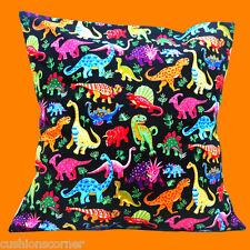 CARTOON Dinosauri Copricuscino 16x16 pollici 40cm colori luminosi cotone nero su