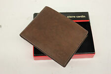 "NIB PIERRE CARDIN MEN'S LEATHER BIFOLD ""P"" LOGO WALLET BROWN 00 91-5979-02"
