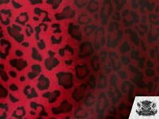 "Velboa Faux Fur Fabric Animal Print Leopard Black and Red / 60"" W / By the Yard"