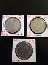 Portugal 1981, 1985 & 1988 100 Escudos  Coins See DESCRIPTION for Details