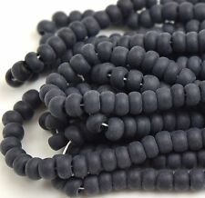 "Czech Glass Seed Beads Size 6/0 "" BLACK MATTE "" Loose 50 Grams"