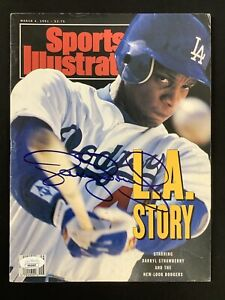 Darryl Strawberry Signed Sports Illustrated Mag 3/4/91 Dodgers No Label Auto JSA