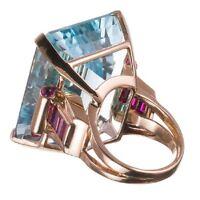 Women Fashion Crystal Wedding Engagement Party Aquamarine Band Ring Size 6-10