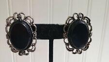 Vintage Emmons Silvertone Metal Filigree Black Glass Inset Oval Clip-On Earrings