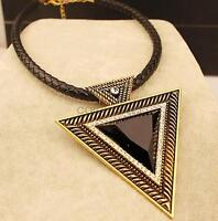 Women European Style Fashion Leather Cord Geometric Triangle Exaggerate Necklace