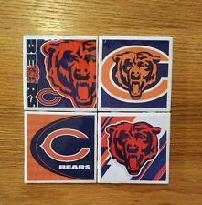 Chicago Bears Logos 4x4 Ceramic Coasters Handmade set of 4