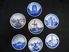 """7 pc. Royal Copenhagen Denmark 2010 Plaquettes Mini Decorative Plates 3"""" Mint!"""