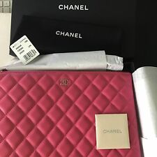 New Auth CHANEL Lambskin Leather O Case Pouch Clutch Bag SILVER HW Amazing PINK!