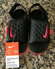New! Nike Sunray Adjust 5 (Td)Black & Pink Sandal Little Girls Toddler Size 10C