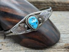 Leaf Detail Small Cuff Bracelet Vintage Navajo Sterling Silver Turquoise