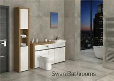 OAK / WHITE GLOSS BATHROOM FITTED FURNITURE WITH TALL UNIT 2000MM